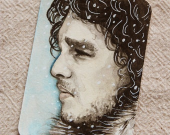 Original ACEO watercolor painting of Jon Snow ATC miniature painting GOT Game of Thrones
