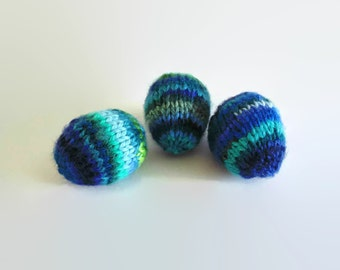 Blue Green Heirloom Wool Easter Eggs, Happy Easter Gift Decoration, Hand Knitted Eggs, Knitted Toy, Home Decor, Basket Filler, Table Decor