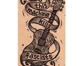 This Machine Kills Fascists Guitar Postcard, Hand Printed Letterpress Postcard, Woody Guthrie Tribute