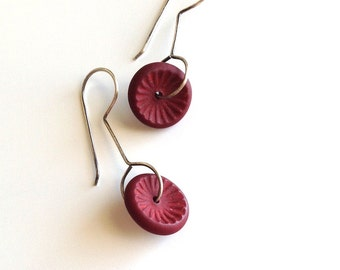 Red textured earrings, flower, abstract, art jewelry