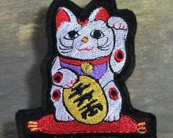 Maneki-neko Lucky Cat Embroidered Pin Cushion or Pillow for  BJD Dolls