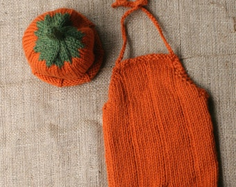 Pumpkin  Hat and Romper Set-0-3 Months - Photography Prop- Ready to Ship