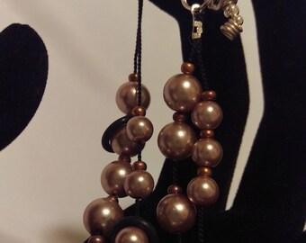 Bronze Pearl Row Counter Bracelet