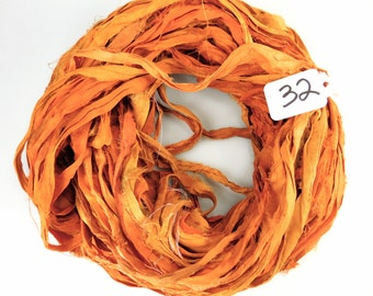 Recycled Silk Sari Ribbon, Sari silk ribbon, Orange sari ribbon,  Orange Fall ribbon, weaving supply, jewelry supply