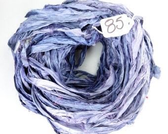 Sari Silk Ribbon, Recycled Silk Sari Ribbon, blue sari ribbon, Denim blue ribbon, silk sari ribbon, weaving supply, knitting supply