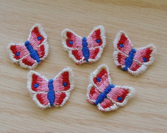 5 Vintage Embroidered Butterfly Appliques Trim