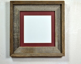 Wood picture frame 8x8 with maroon mat for 5x5 or 6x6