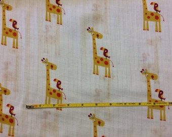 NEW Riley Blake Giraffe Double Gauze Cotton Woven fabric 1 yard