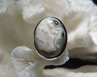 Druzy Ocean Jasper Ring Size 8