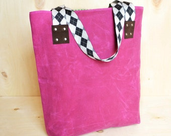 Canvas Tote Bag, Waxed Canvas Tote, Gift for Her, Canvas Market Bag with Monogram Option  - The LF Market Tote in Hot Pink