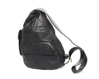 GRUNGE black leather 80s 90s TRIANGLE KNAPSACK mini hobo backpack purse bag