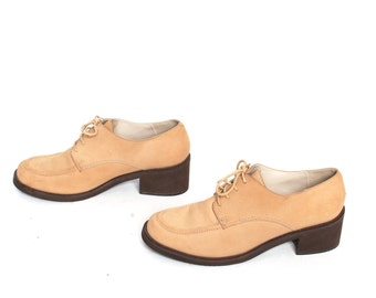 size 10 PLATFORM tan nubuck leather 80s 90s GRUNGE OXFORD lace up high heel ankle boots