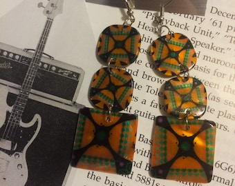 FRESH Vintage 90's colorful painted abalone shell fly girl grunge dangle pierced earrings never worn deadstock