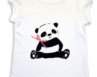 Panda Tee Shirt /Girls Top / T-Shirt / Childrens Clothing /  Baby Clothing