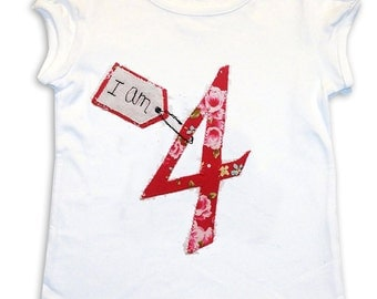 Girl's Personalized Age Tee Shirt / Birthday Shirt / Personalised Clothes / T-Shirt / Baby Shirt