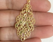 10 pcs of gold  filigree connector links 19x42mm, gold filigree drops, gold filigree pendant
