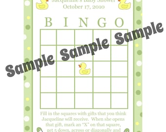 24 Personalized Baby Shower Bingo Cards    - Rubber Duck Baby Shower - Rubber Ducky Bingo - Duck Bingo Cards - Gender Neutral Colors