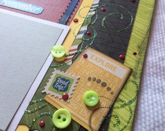 The Great Outdoors Scrapbook pages, vacation pages, vacation layout, 12 x 12 premade pages, camping