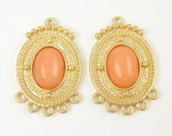Peach Earring Findings Ornate Gold Chandelier Earring Findings Granulated Oval Chandelier Pendant Medallion Jewelry Connector |O3-17|2