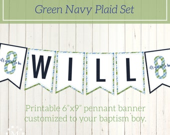 Personalized LDS Baptism Printable Banner for Boys - Olive Green Navy Blue - Plaid Style - Pennant Banner - It's Great to be 8