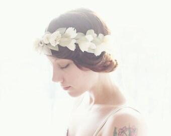 Ivory Flower crown, Bridal head wreath, Boho wedding crown, Bridal hair crown, Floral wreath - MAY QUEEN