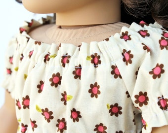 Fits like American Girl Doll Clothes - The Indian Summer Collection, Babydoll Peasant Top in Cream Daisies, Made To Order