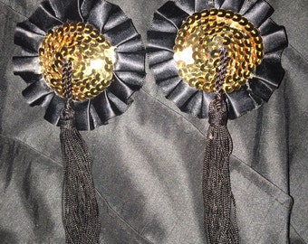 Gold Sequins pasties with tassle