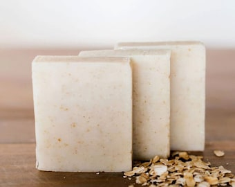 gift for him, gift for boyfriend, natural Soap Peppermint Oatmeal, hand soap, bar soap, gentle soap, 3.5 oz, handmade by queen of the meadow