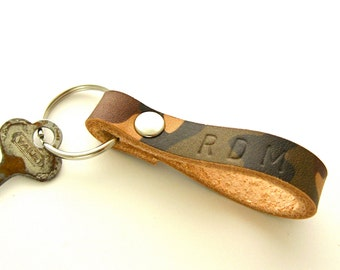 Camo Leather Key Fob, Personalized Key Ring, Men's Keychain, Camouflage Keychain, Hunter's Gift, Monogrammed Leather, Gift For Men