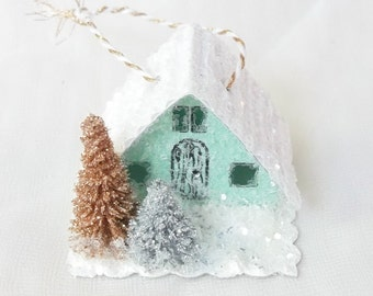 Vintage Putz Style Tiny Miniature Mint Green Glitter Sugar House Gold Silver Trees Tea Cup Garden Christmas Village or Ornament  for Tree