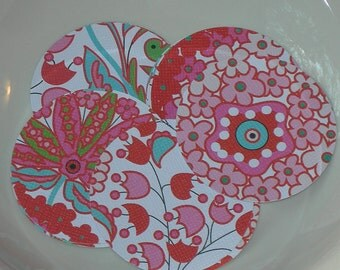 """Fancy Florals 2"""" Diecut Circle Set or Envelope Seal Stickers, Pink, Red, Blue and White"""