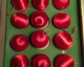 Set of 12 Vintage Mini Red Satin Ball Christmas Ornaments