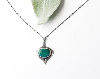 Little Leaf Necklace - Sterling Silver and Amazonite