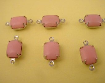 6 Vintage Pink Octagon pillow opaque Glass Connectors 10x8 silver  prong setting