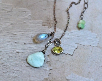 Peridot Bezel Necklace - Oxidized Sterling Silver Mixed Stone Pendant Necklace - Larimar Necklace - Labradorite Necklace