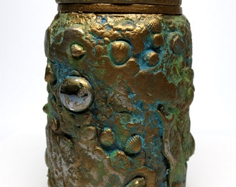 Shipwrecked Lidded Jar/Vase Polymer Clay over Glass