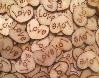 Wood Love Hearts, 100 Tiny Love Hearts, Wooden Love Hearts, Rustic Table Confetti, Rustic Wedding Decor, Table Confetti, Barn Wedding