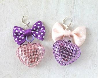 Fairy Kei mismatched Heart And Bow Earrings lolita pink purple kawaii sweet