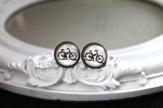 Bike bicycle earrings sweet lolita feminine stud post black white cyclist