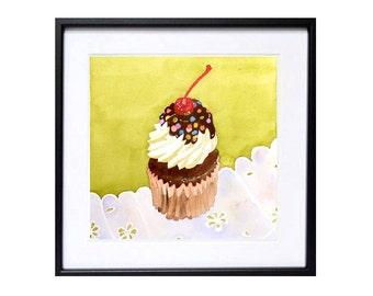 Cake Art Watercolour Original Watercolor Painting Dessert srt, Kitchen art kitchen decor cupcake wall art Pastel pastry wall art - 8 x 8 in