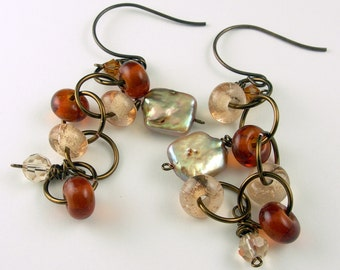 Champagne Amber Topaz Bronze Lampwork Glass Crystal and Pearl Earrings with Vintaj Antiqued Brass