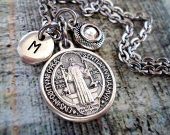 St. Benedict Birthstone Necklace, Italian Charm, Confirmation, Patron Saint,  Custom Monogram Initial, Swarovski Crystal, Catholic Jewelry