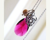 Clearance SALE Hot Pink Fuchsia Necklace Swarovski Pearl Crystal Teardrop Sterling