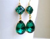 Clearance SALE Angelina Jolie Inspired Emerald Green Stone Gold Dangle Earrings
