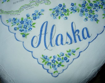 Vintage Alaska State Hanky - Hankie Handkerchief