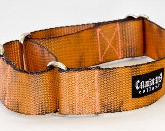 Camp Fire Dog Collar (Orange & Black Hand Dyed )