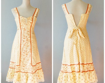 Vintage Sundress Size 5 1970s 80s Floral Bird Toile Boho Lace Up Front Small Homespun Label Extra Small