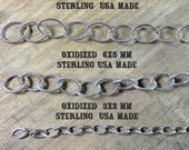 Oxidized stamped Oval variaty chain pack, USA MADE, cable Sterling silver southwest chain 36 inch each.