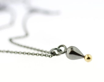 Large Size Pendulum Plumb Bob Drop Necklace Gold Silver Pendant Artisan Jewelry Oxidized