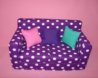 Christmas Sale......10% off----- 18 Inch Purple, White Polka Dot Sofa - Modern Handmade Doll Furniture